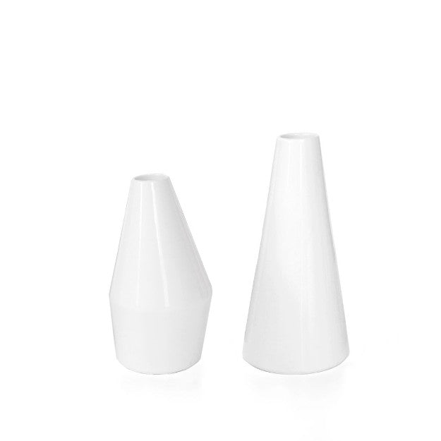 White Lino Vases - Set of Two
