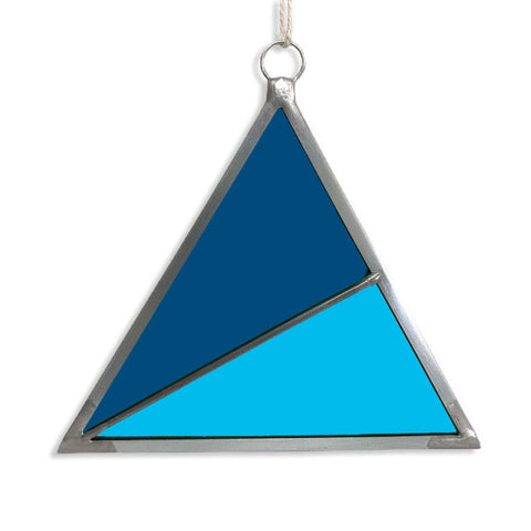 Stained Glass Triangle Ornament - Blue