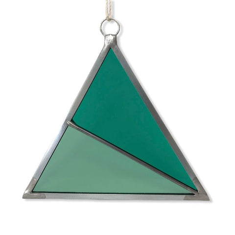 Stained Glass Triangle Ornament - Green