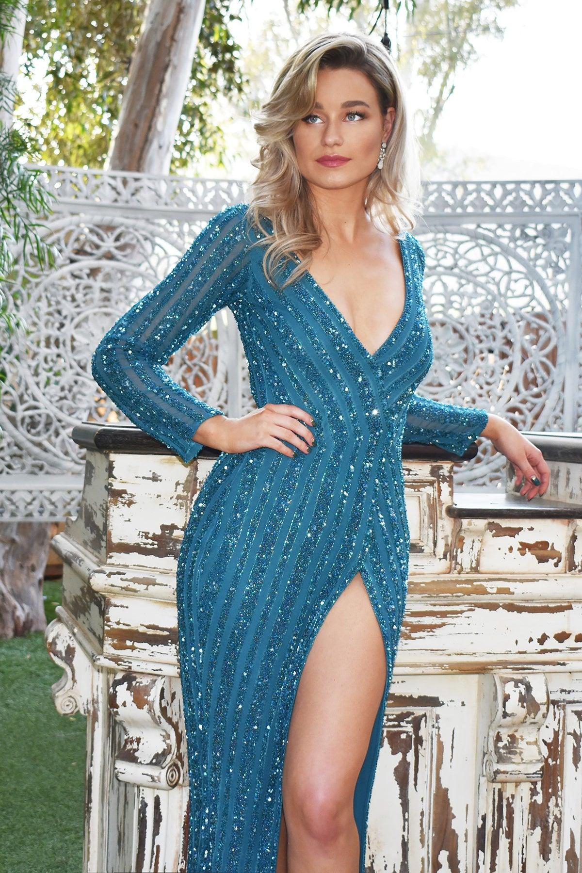 blue beaded pageant dress