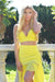 yellow two piece prom dress