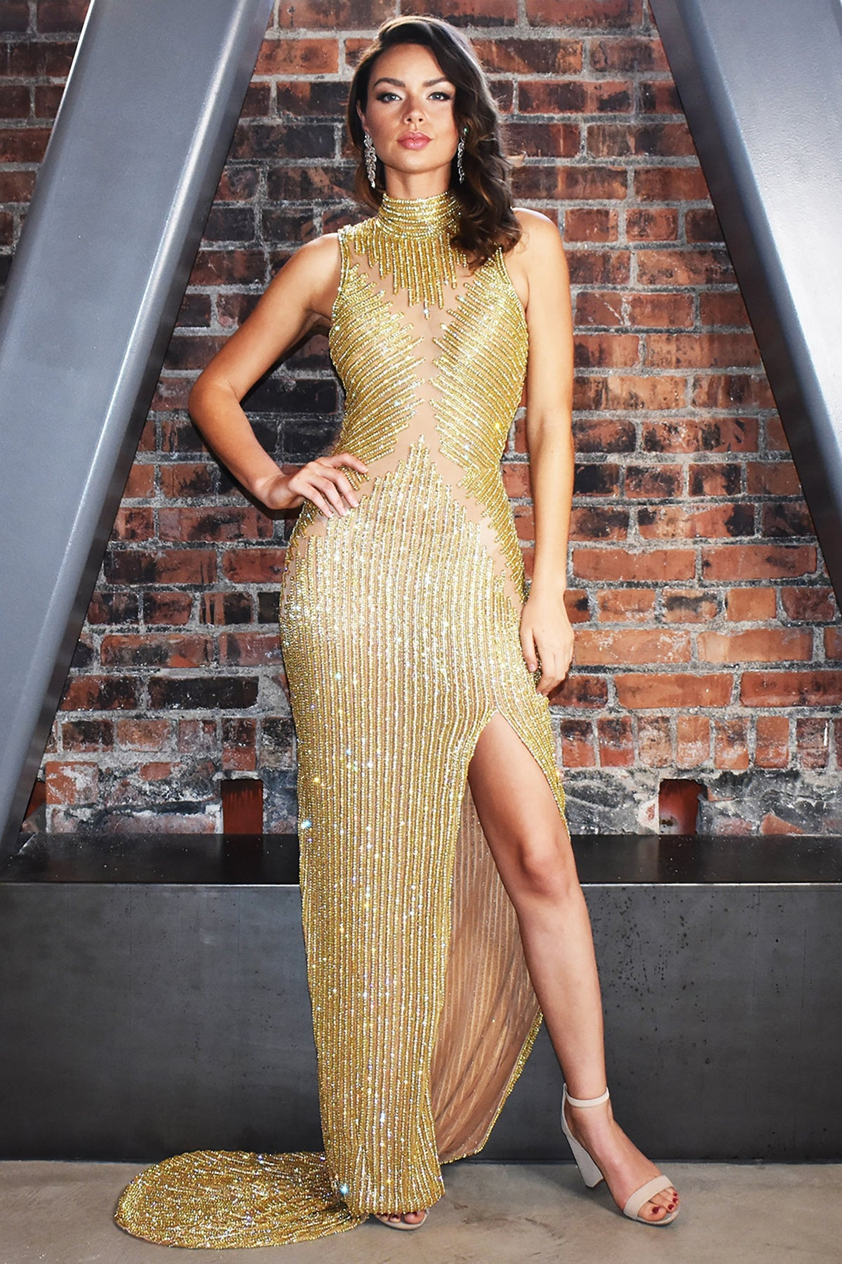 gold beaded and sheer long dress