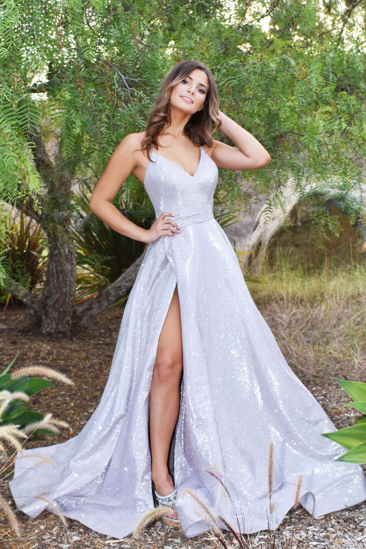 rene the label glitter prom dress