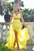 Rene the label yellow two piece prom dress