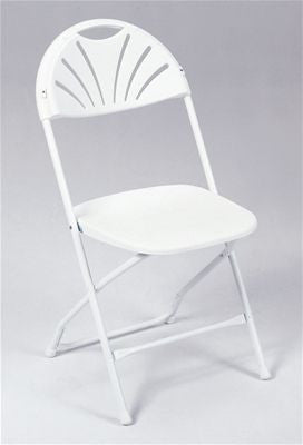 White Plastic Fan Back Chair - Rental