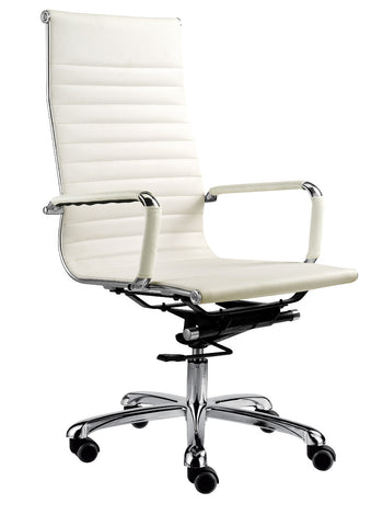 Chrome and White Leather High Back Swivel Chair