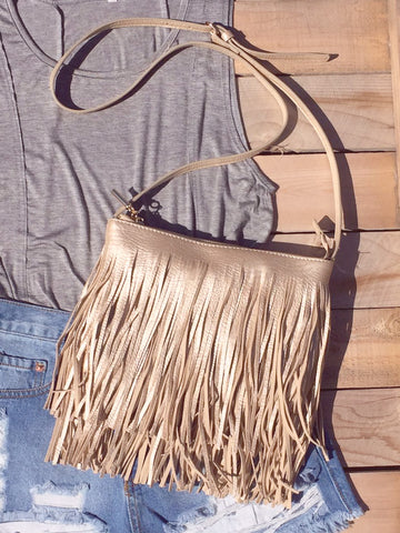 Golden Fringed Crossbody Bag - deloom