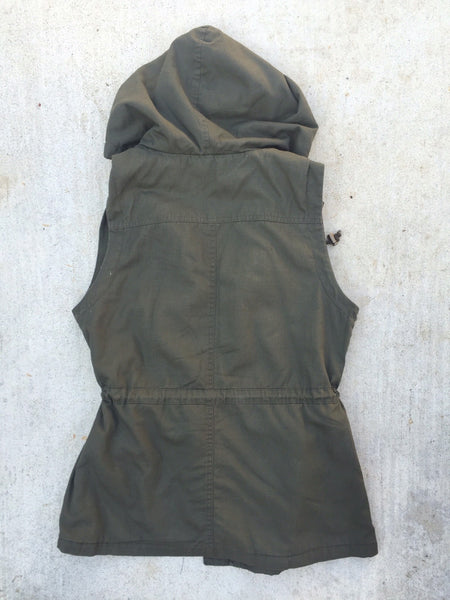 Sleeveless Sherpa Lining Hooded Military Utility Anorak Vest