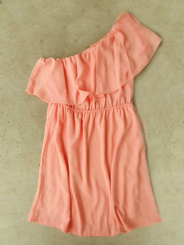 Sweet Ruffled Apricot Dress