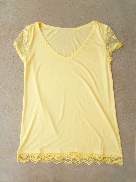 Laced T-shirt in Yellow - deloom