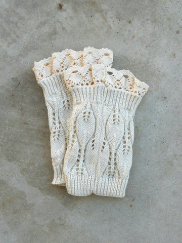 Cozy Ivory Lace Top Boot Cuffs