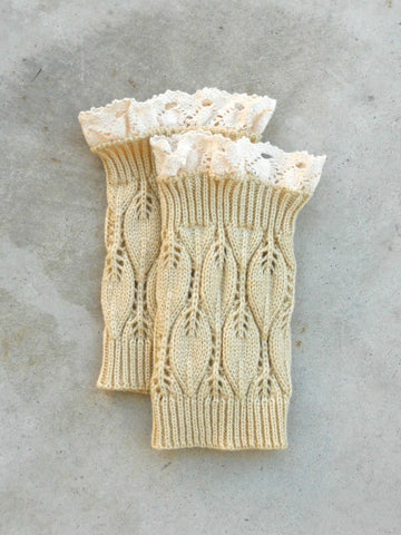 Cozy Honey Lace Top Boot Cuffs - deloom