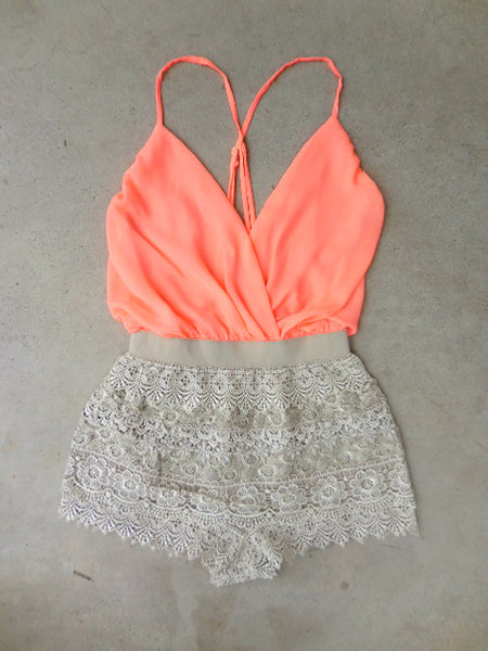 Crochet Peach Macchiato Party Romper - deloom