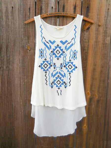 Embroidered Ways Tunic Tank Top - deloom