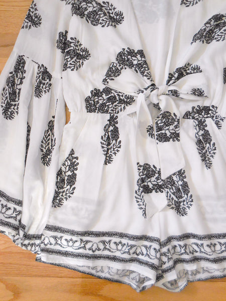 Black and White Greek Block Print Floral Summer Romper Wanelo