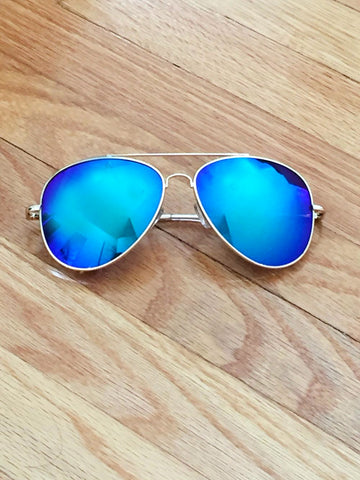 Blue Mirror Lens Aviator Sunglasses - deloom