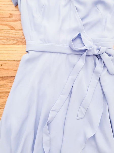Light Blue Swing Wrap Party Dress - deloom