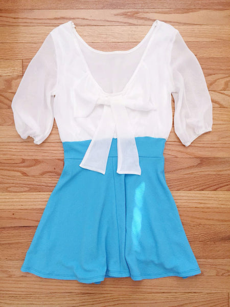 Blue Bow Back Party Dress - deloom