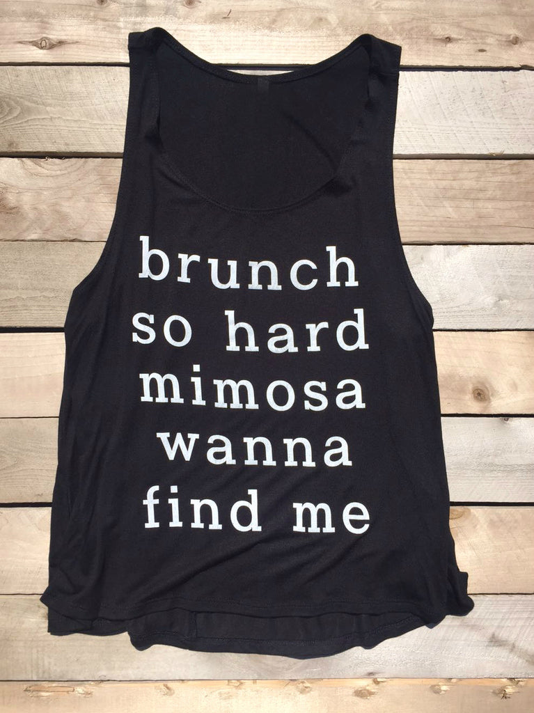Brunch So Hard Mimosa Black Tank Top - deloom