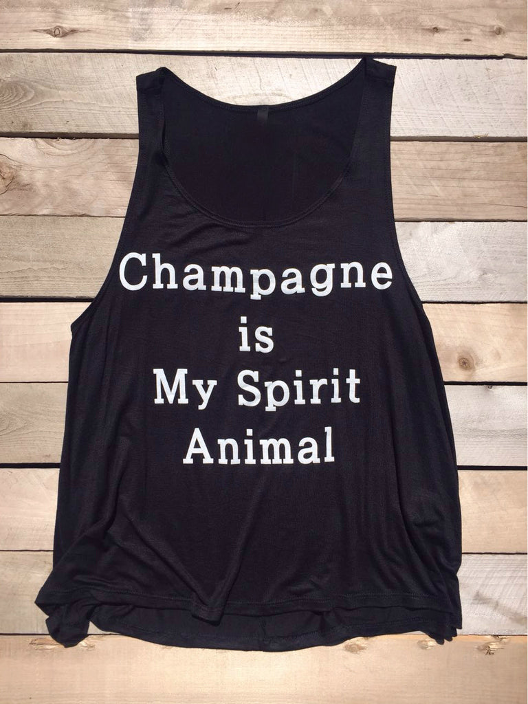 Champagne Is My Spirit Animal Black Tank Top - deloom