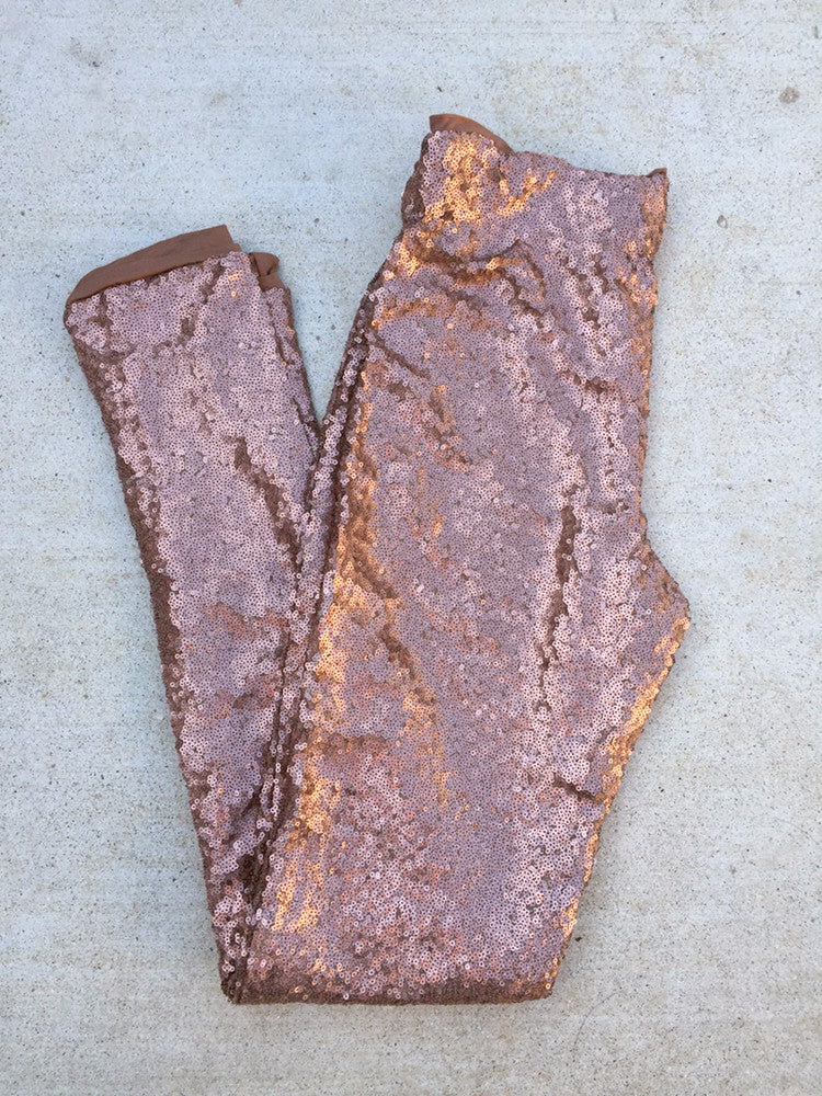 Holiday Party Outfit Copper Sequin Leggings