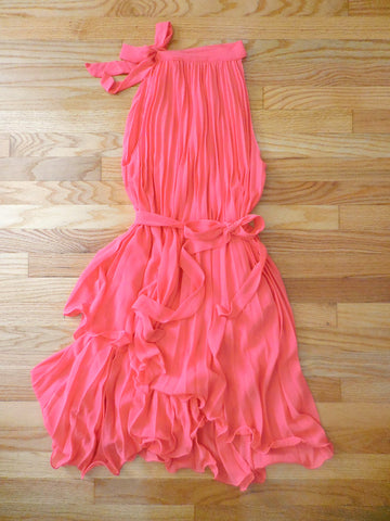 Charming Pleated Party Dress in Coral - deloom