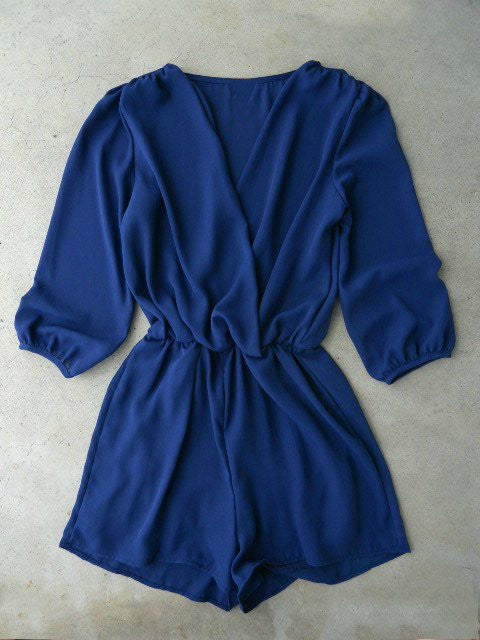 Coronado Navy Blue Long Sleeve Romper.