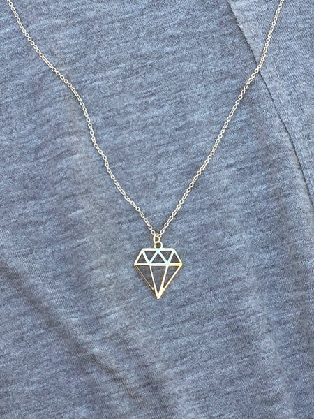Geometric Diamond Necklace - deloom