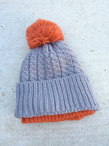 Gray and Orange Cable Knit Beanie