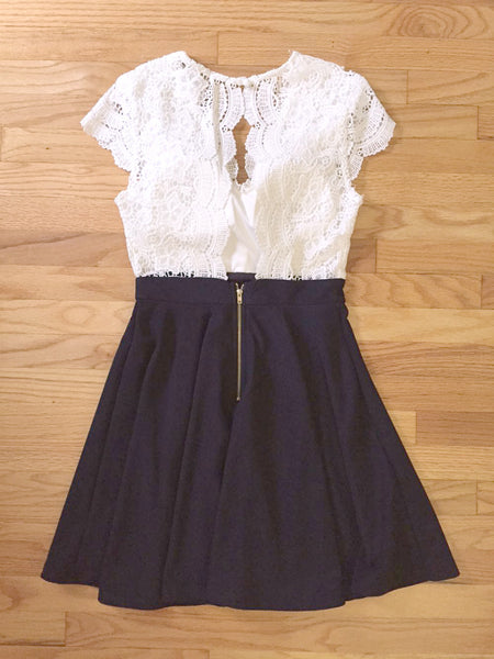 White Lace and Navy Party Dress