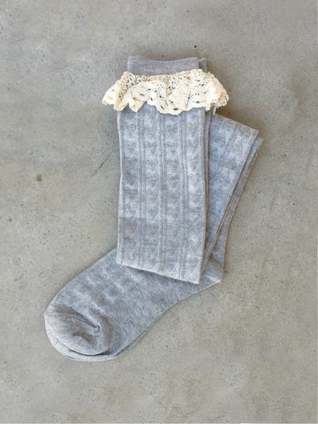 Lace Top Knee High Boot Socks - deloom