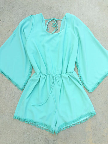 Summer Sweet Pea Romper in Mint