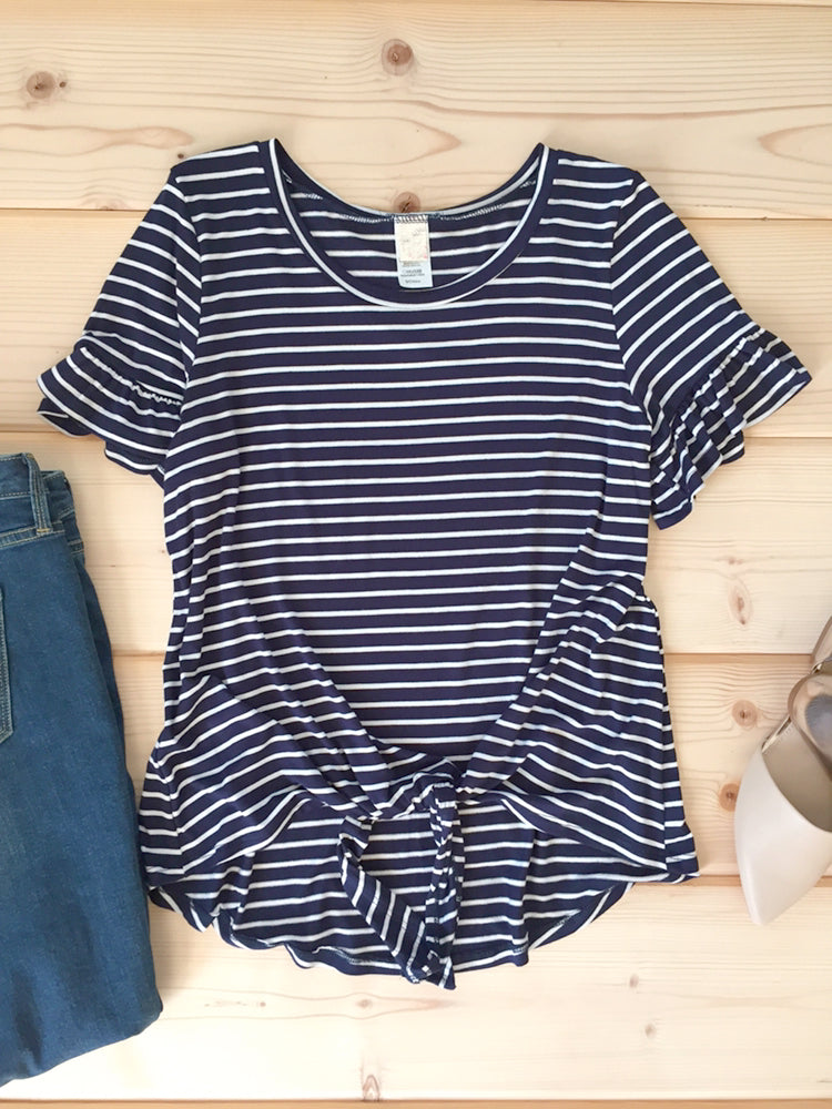 Navy & White Stripe Knot Front Tee