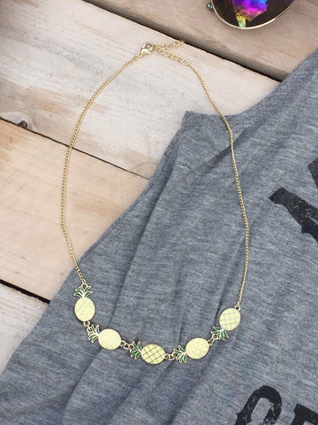 Enamel Pineapple Gold Necklace