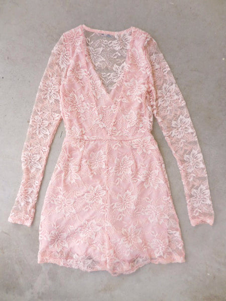 Blush Pink Lace Party Romper - deloom