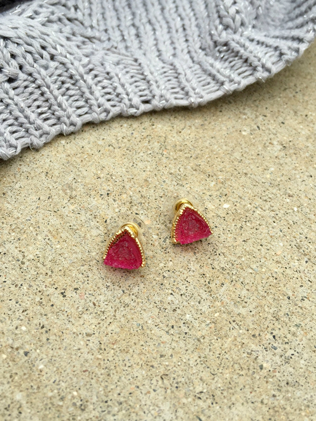 Trillion Raspberry Druzy Stud Earrings