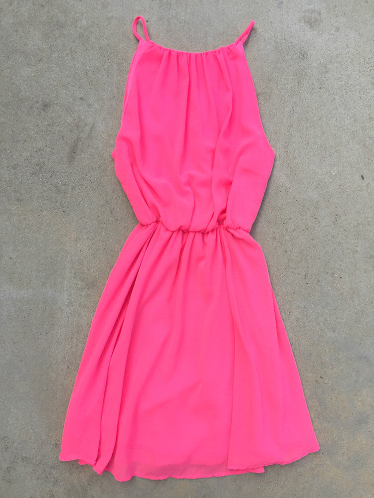 Sweet Spring Dress in Neon Pink