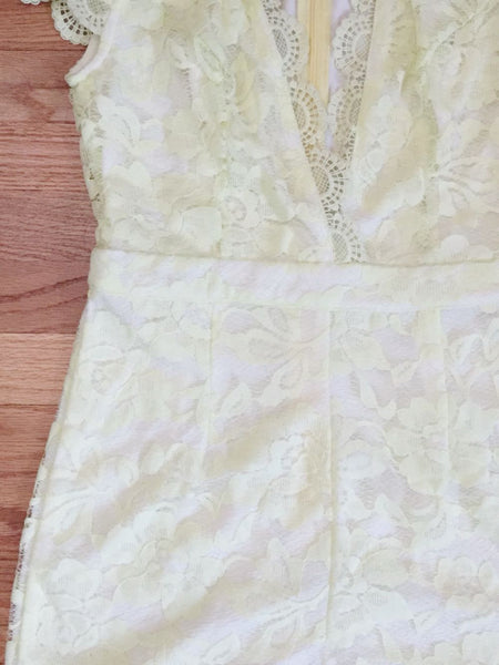Sweet Yellow Lace Party Romper