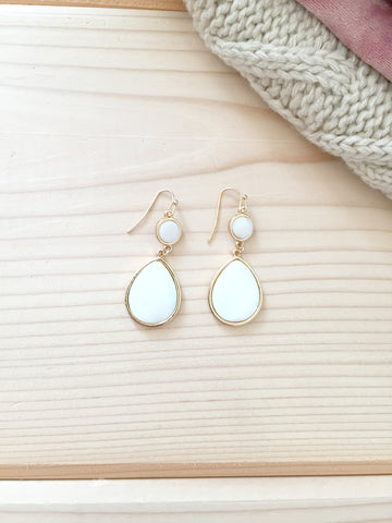 White Enamel Drop Earrings