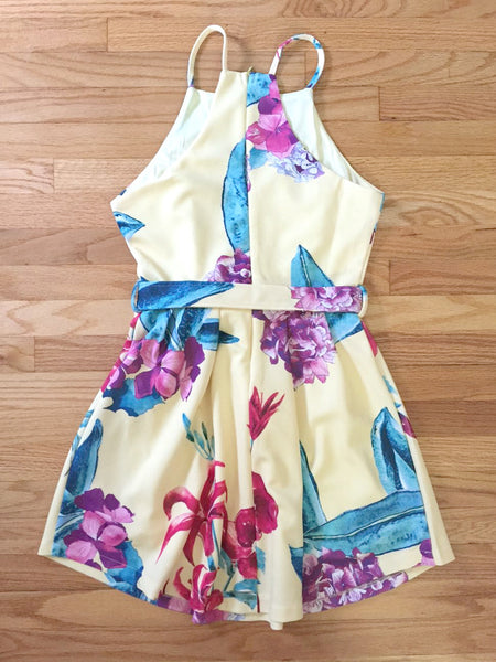 Yellow Floral Fit and Flair Dress Floral Print Summer Party Dress