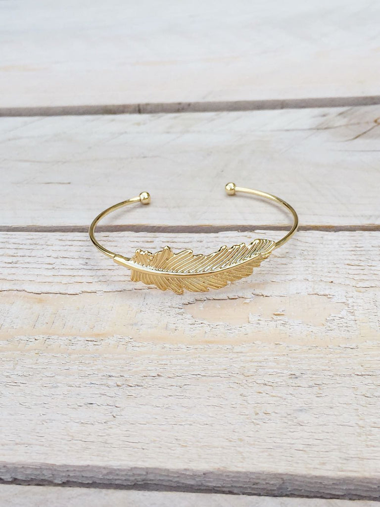Gold Feather Bracelet Bangle - deloom