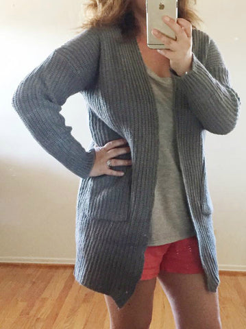 dark gray charcoal sweater knit cardigan