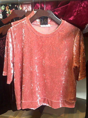 Crushed Velvet Top in Rose