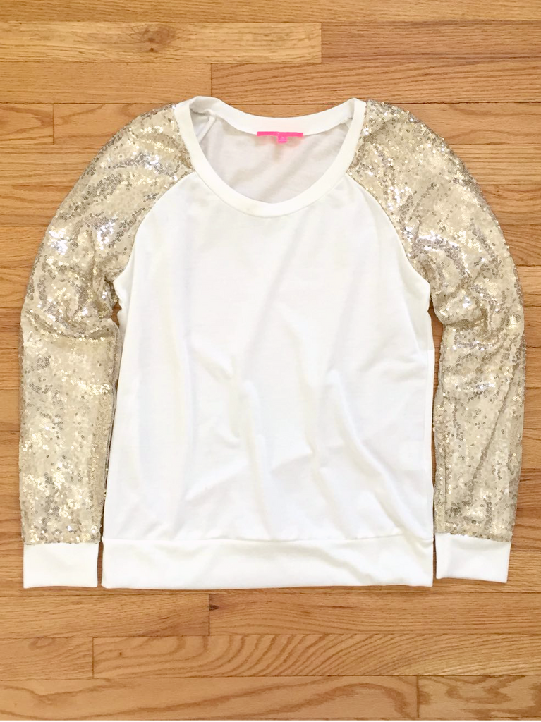 Gold Sequin Sleeves Baseball Top - deloom