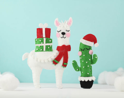 Christmas Cactus and Llama Felt Pattern Ornament
