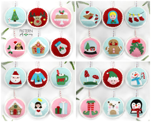 24 Christmas Ornaments, Advent Ornaments, Felt Christmas Ornaments Bulk