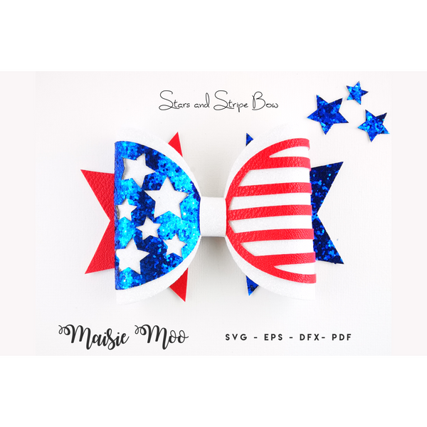 Stars and Stripes Bow SVG | 4th July Bow SVG, | Independence Day Bow
