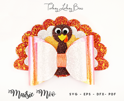 Thanksgiving Bow SVG, Turkey Bow SVG, Turkey Day Hair Bow Template