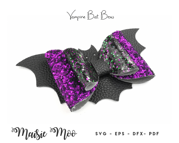 Vampire Bat Hair Bow SVG | Halloween Bow Template | Stacked Double Bat Wings Bow SVG | Bat Wing Bow PDF Pattern