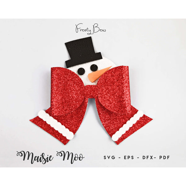 Christmas Bow SVG | Snowman Bow Template | Frosty Hair Bow SVG